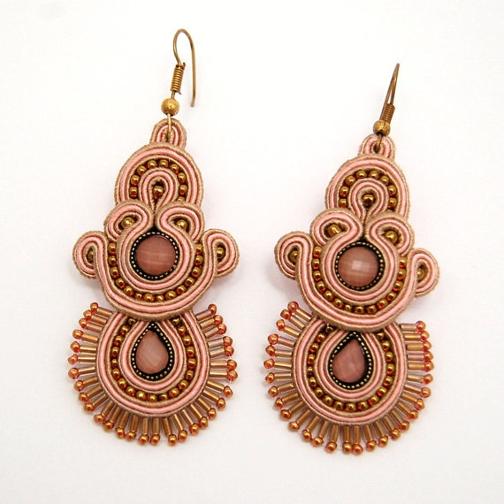 sweet cappuccino  soutache earrings by martazare on Etsy, zł380.00