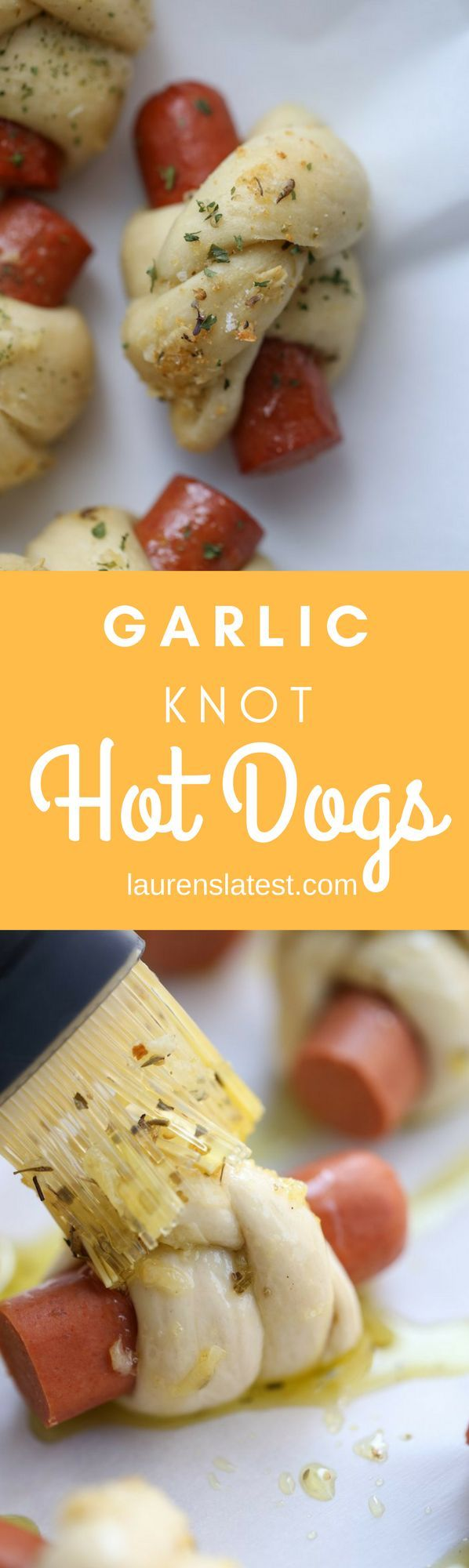 Pizza dough wrapped around a hot dog, tied into a knot and brushed with garlic olive oil…garlic knot hot dogs! What's not to like? #hebrewnational #ad #WeRemainStrict