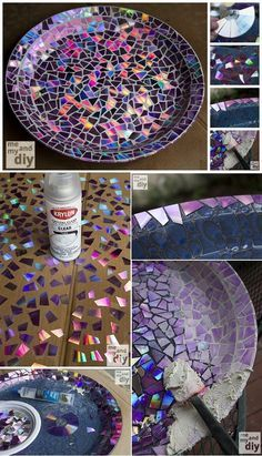 Are you a bird #lover? Check out this great #recycled #craft project that uses DVDs to make a mosiac birdbath!