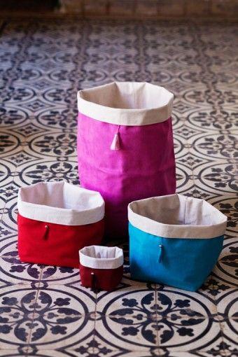 suede storage bins by kif kif, morocco