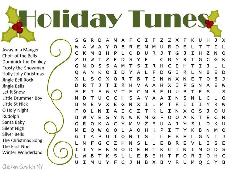 Two free printable Christmas word searches. The easy one is a snowman theme and the tougher one is holiday song titles.