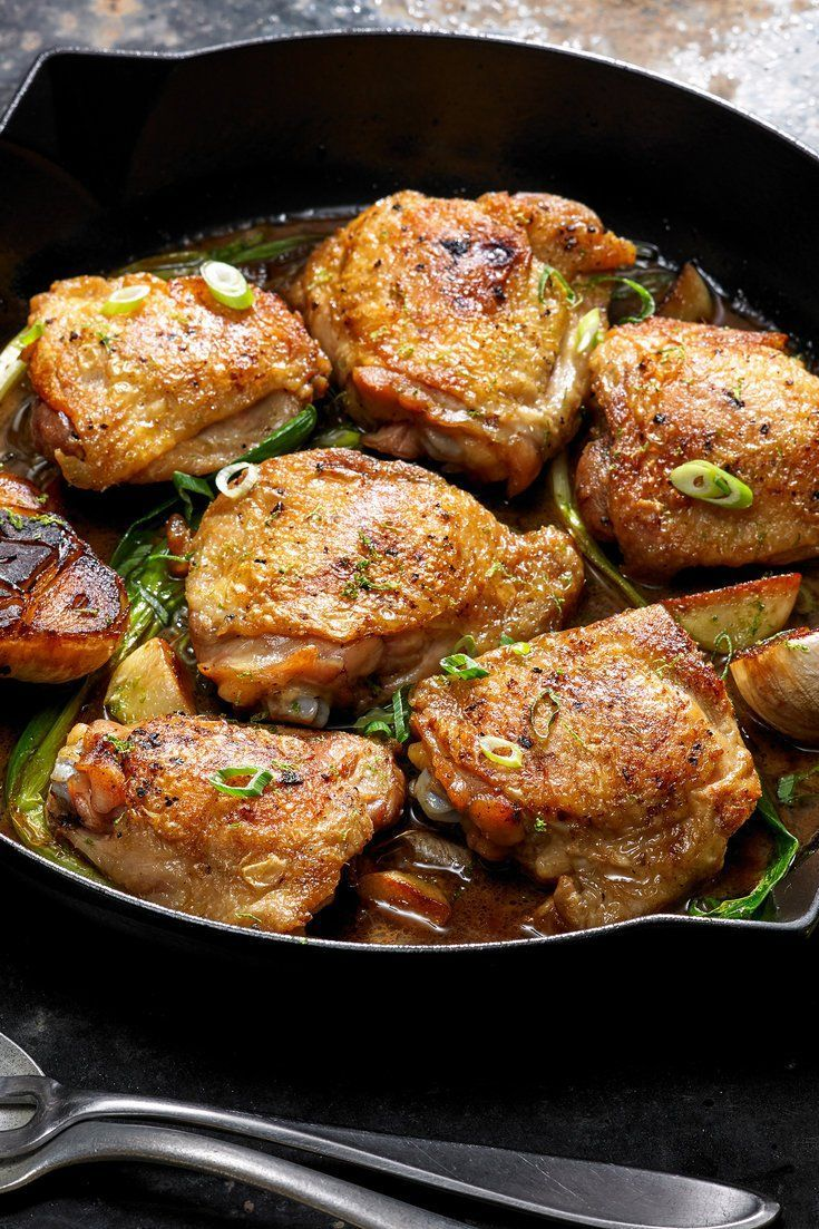 NYT Cooking: These tangy chicken thighs are a weeknight alternative to a long, weekend braise. They may not fall entirely off the bone, but the quick simmer in a rich, citrusy sauce yields an impossibly tender thigh that you wouldn't get with a simple sear. Serve with rice, whole grains or with hunks of crusty bread for mopping up the leftover sauce.