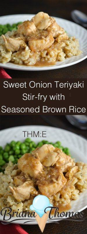 Sweet Onion Teriyaki Stir-fry with Seasoned Brown Rice - THM:E, low fat, no sugar added