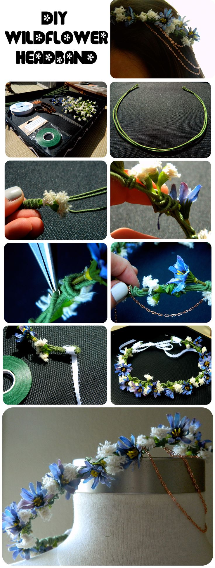 How to make a floral headband. I'm putting this here as it gives me some good ideas and also shows how easy these are to make.