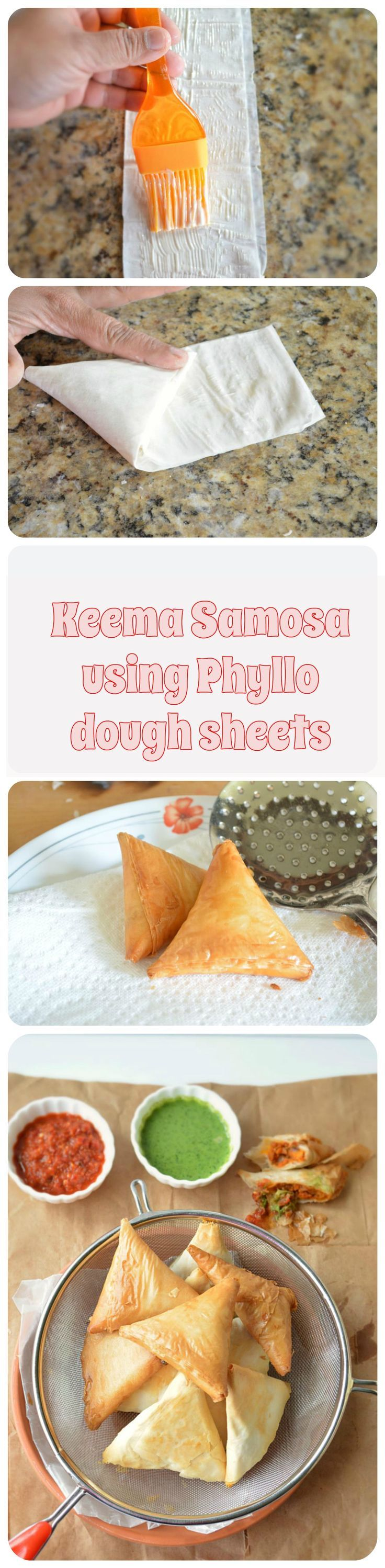 Chicken Keema Samosa. Minced chicken sauteed in spices then wrapped in phyllo sheets and baked to perfection!!  A perfect tea time snack.