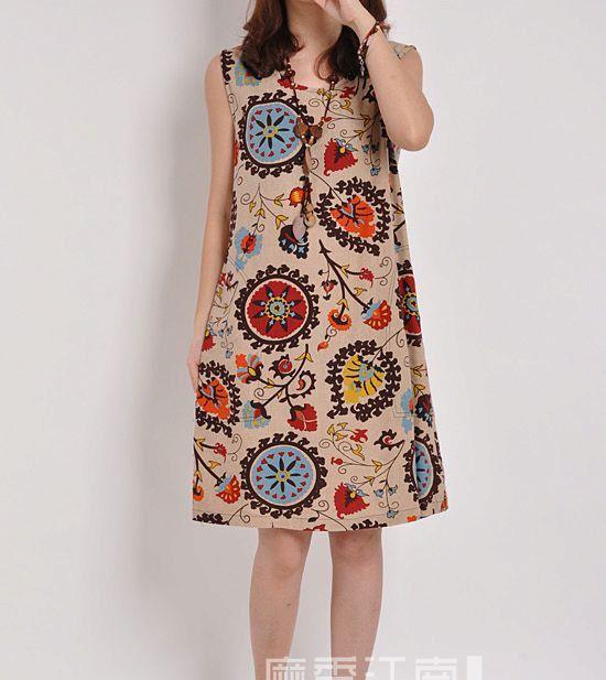 Khaki linen dress maxi dress sleeveless skirt by originalstyleshop, $56.00