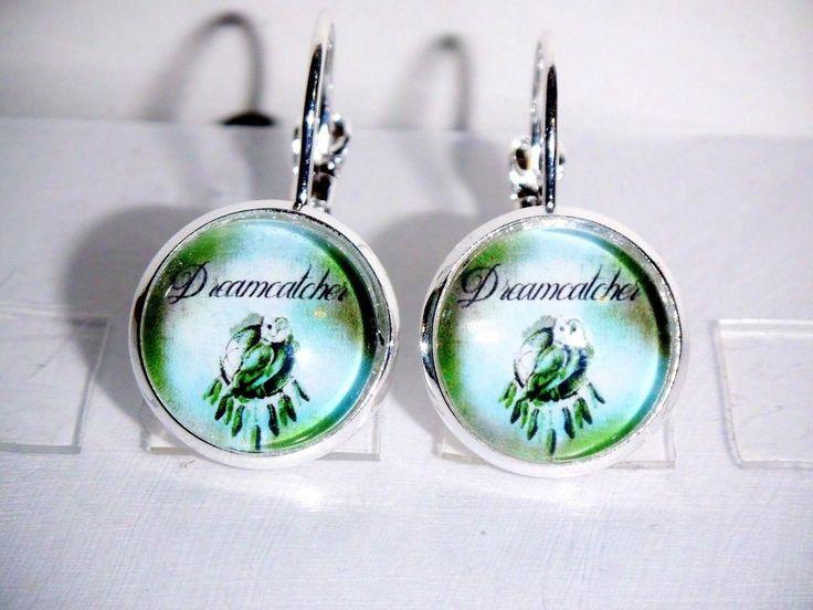 Ohrringe Eule Traumfänger Grün Damen Ohrschmuck Modeschmuck Glas Cabochon