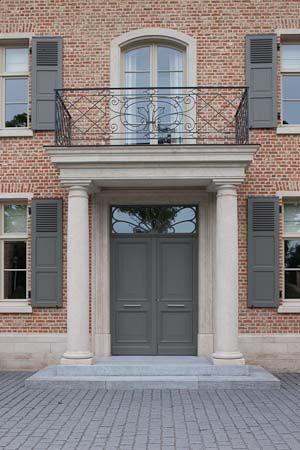 Red bricks, english bond, jack arches, belgian blue stone