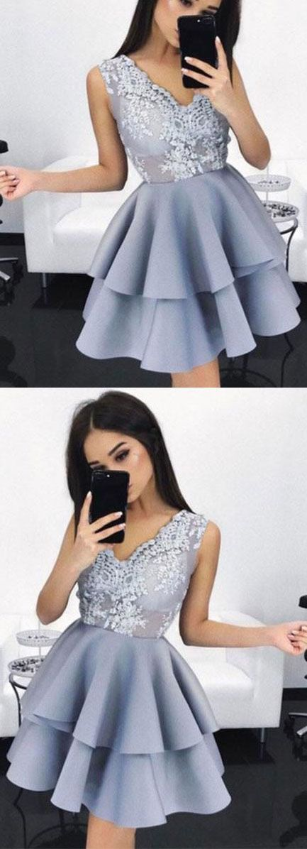 New Arrival A-Line Sleeveless V-Neck Short Homecoming/Prom Dress with Appliques,Homecoming Dress,Homecoming Dresses