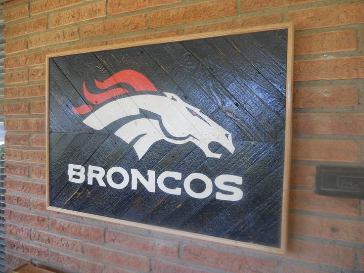 Broncos Wall Art 2ft x 3ft rustic broncos wall art | daves woodwork & signs