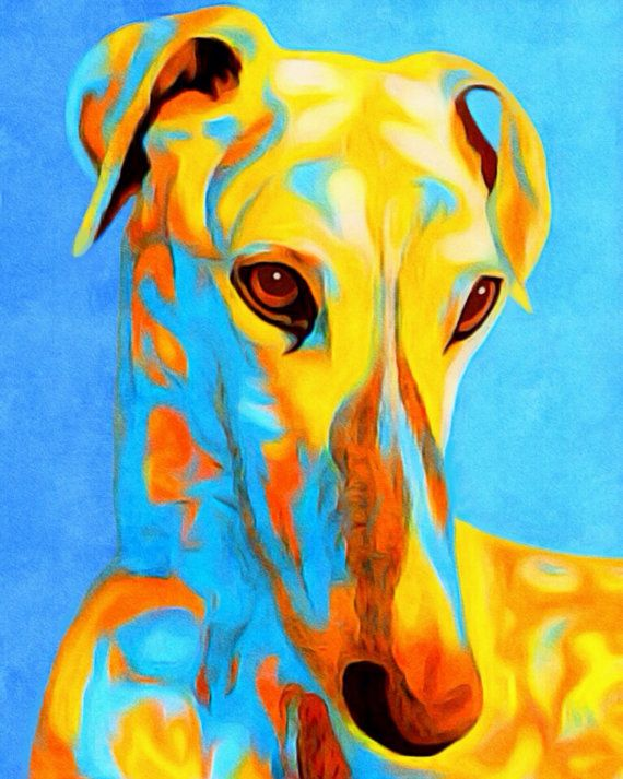 Greyhound dog pop art art painting copic ink by AnimalArtIncognito