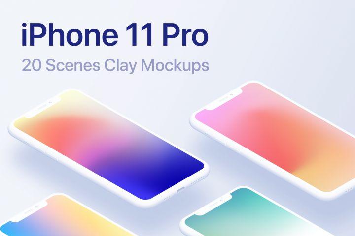 Iphone 11 Pro 20 Clay Mockups Scenes Psd 360608 Mockups Design Bundles Iphone 11 Iphone Mockup Iphone
