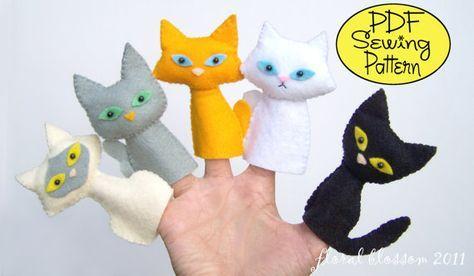 Patrón digital: Gato pandilla fieltro titeres de dedo Más