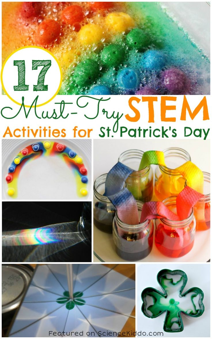 Awesome collection of St. Patrick's Day science activities that kids will love! Learn rainbow science and create rainbows using water, paper, CD's, candy, slime, and more! This fun kids' science for St. Patrick's Day is perfect for science centers or classroom parties. Use rainbows, leprechauns, and shamrocks to learn!
