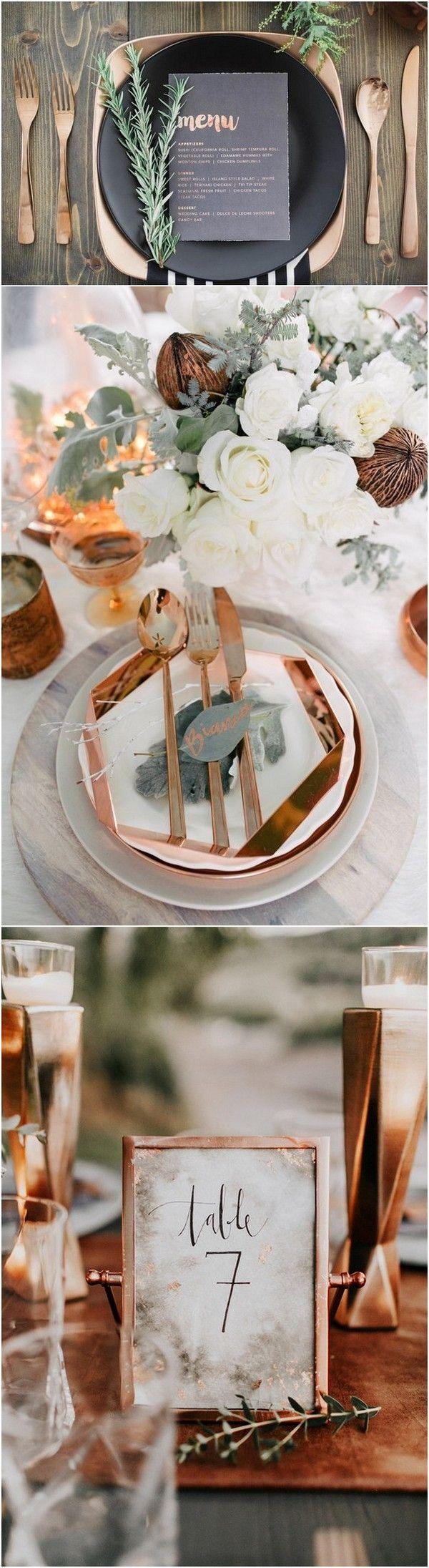 metallic copper wedding table setting ideas