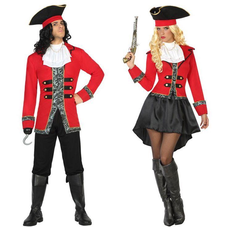 pareja disfraces capitanes garfio piratas adulto