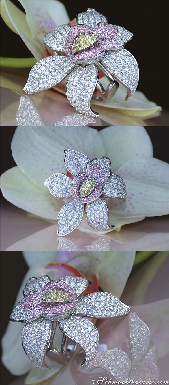 Exclusive Blossom Design Diamond Sapphire Ring, 5,34 cts. WG-18K - Find out: schmucktraeume.com - Like: https://www.facebook.com/pages/Noble-Juwelen/150871984924926 - Contact: info@schmucktraeume.com