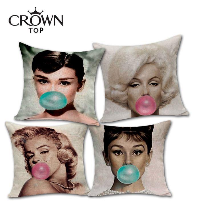 Cheap Arco iris haga burbujas Marilyn Monroe Audrey Hepburn almohada de lino de algodón para el sector minorista, Compro Calidad Cojines directamente de los surtidores de China:  Peso: 90g cada PC             Arco iris soplar burbujas Marilyn Monroe Audrey Hepburn almohada de algodón de lino cubie