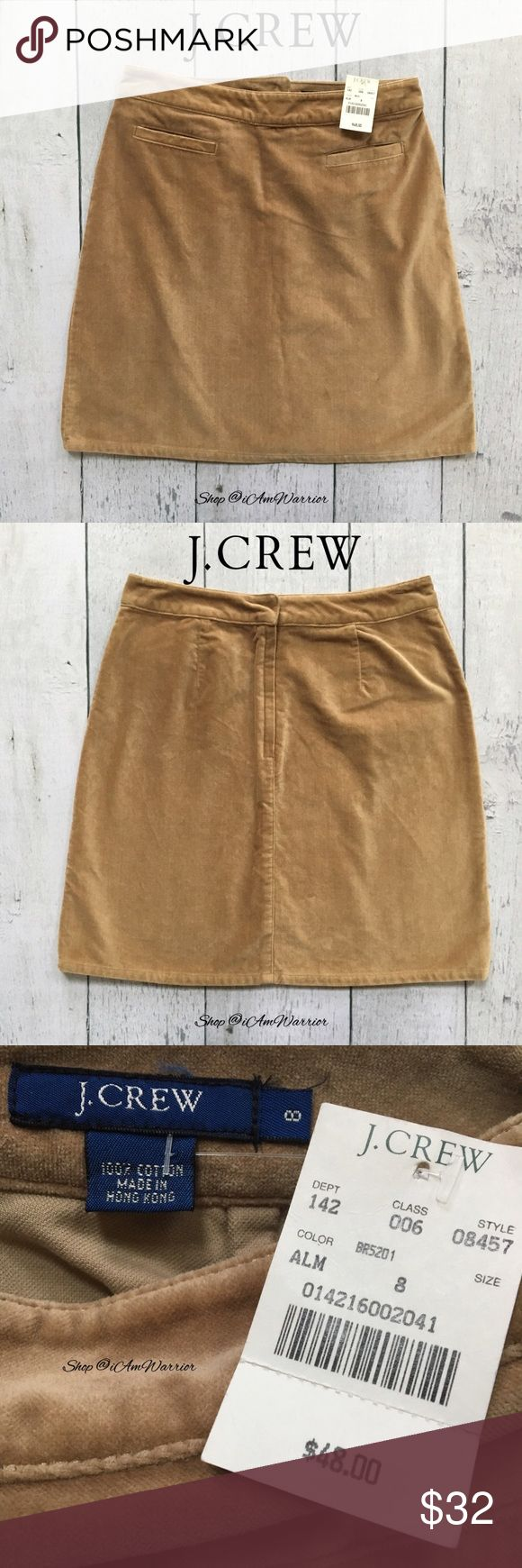 "🆕NWT J. Crew camel cotton velvet mini skirt NWT J. Crew velvet mini skirt. Color is called almond, and depending on the light it looks tan to warm caramel in color. Size 8 but fits like a size 6 due to waist size. Approx 20"" long, 14"" across waist. Please read updated bio regarding closet policies prior to any inquiries. J. Crew Skirts Mini"