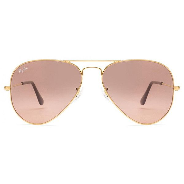 Ray-Ban Aviator Large Metal 001/3E Gold Ray-Ban (£125) ❤ liked on Polyvore featuring accessories, eyewear, sunglasses, glasses, pink, ray-ban, designers, home, women's and pink lens sunglasses