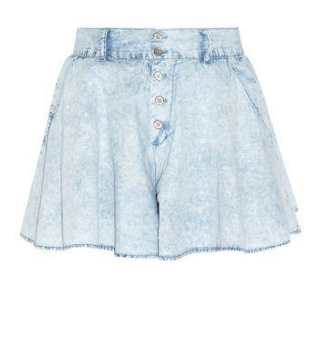 Pale Blue Acid Wash Denim Culottes