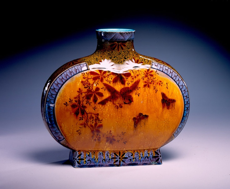 Theodore Deck (French, 1823–1891) | Paris | Vase | ca. 1889 | Earthenware | 9 7/8 x 11 x 3 1/2 inches | Gift of John and Mary Ann Busby, in honor of Micheline Gerson and the memory of her parents | 2000.5