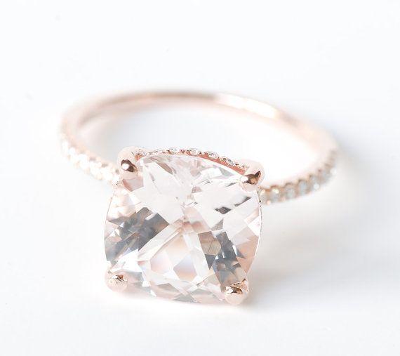Huge Morganite Diamond Ring 14K Rose Gold by SundariGems on Etsy