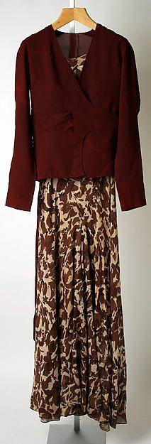 Evening ensemble  Designer: Elsa Schiaparelli  Date: ca. 1931 Culture: French Medium: silk Accession Number: 1996.118.2a–c