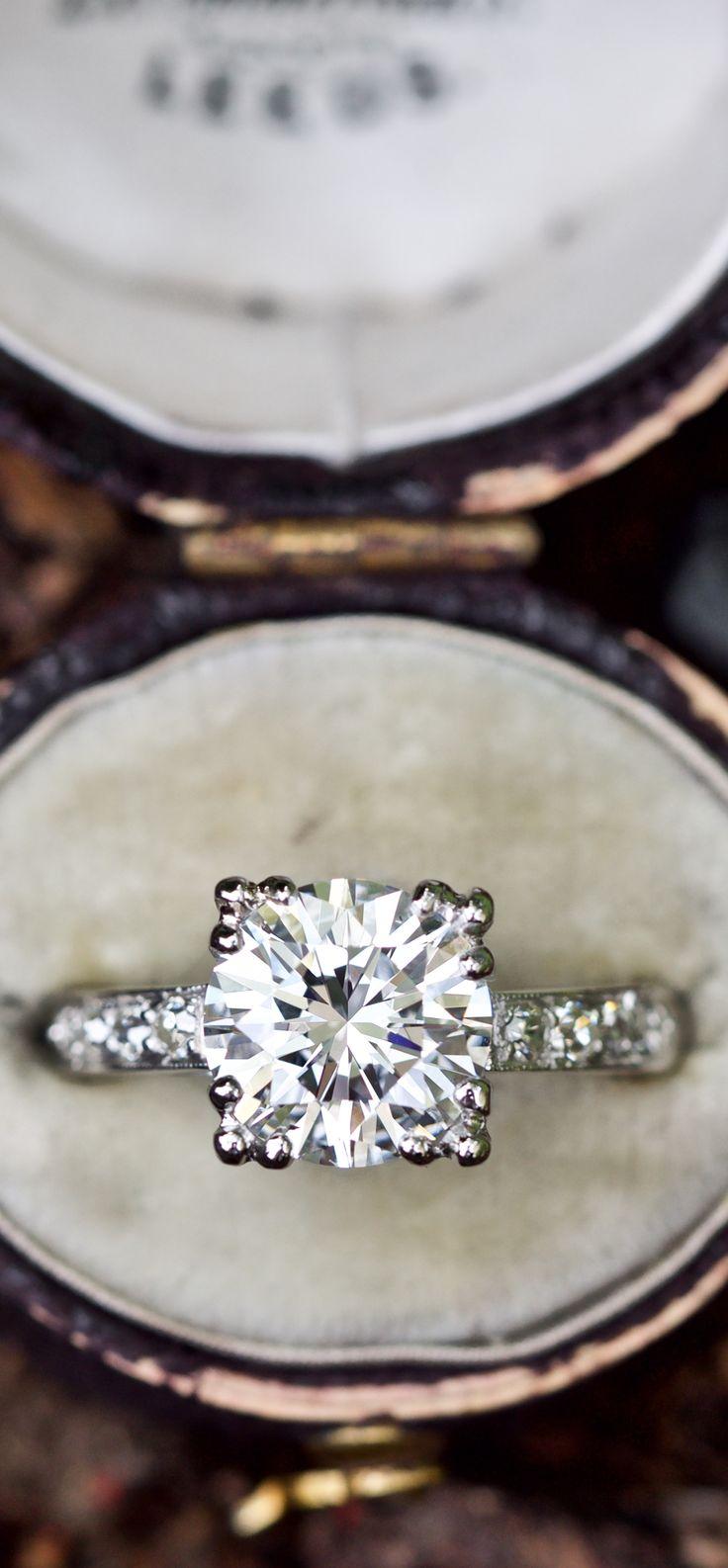GIA 2 Carat Diamond Vintage Engagement Ring E/SI1
