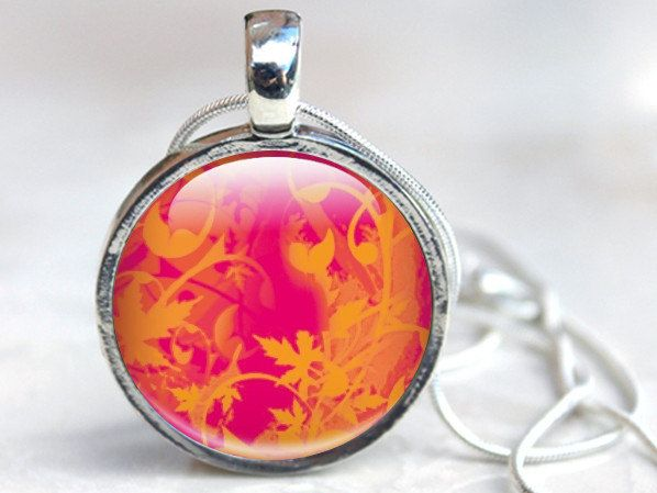 Pink and Orange Pendant Necklace, orange swirls on pink Background, Art Pendant Gift with Silver Chain.  via Etsy.
