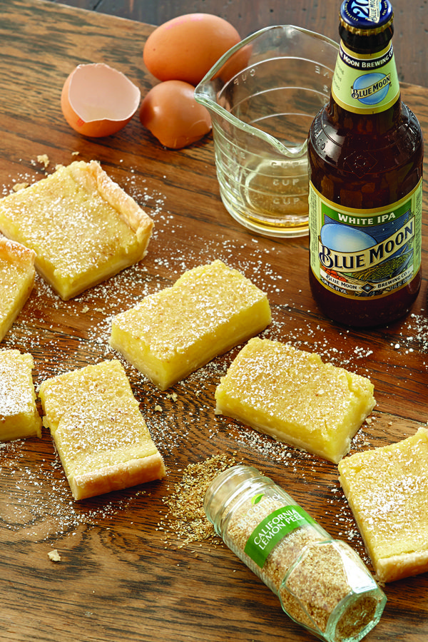 Blue Moon® White IPA and ginger add a unique, tasty twist to the classic lemon bar. Refrigerated pie crusts are used in place of a shortbread crust to make this lemon dessert recipe a breeze.