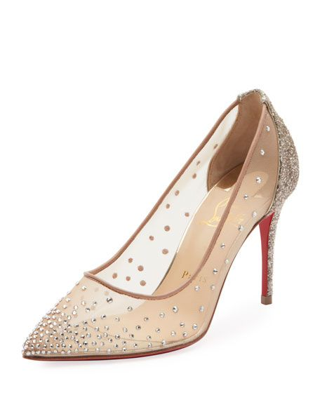 071b6e902b3 Follies Strass 85mm Glitter-Heel Mesh Red Sole Pumps by Christian Louboutin  at Neiman Marcus