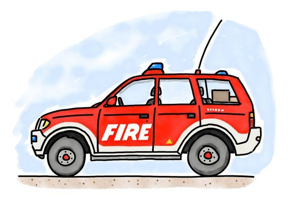 Kinderzimmer Poster Kinderbild A4 Feuerwehr Jeep Etsy