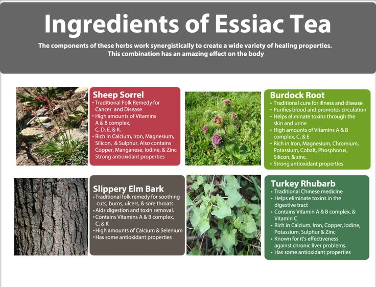 Describes the 4 ingredients in Essiac Tea and their benefits