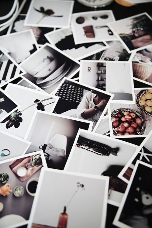 you could lay your own personal collection of polaroids under the glass of a coffee table in a manner similar to this to add personality to a piece