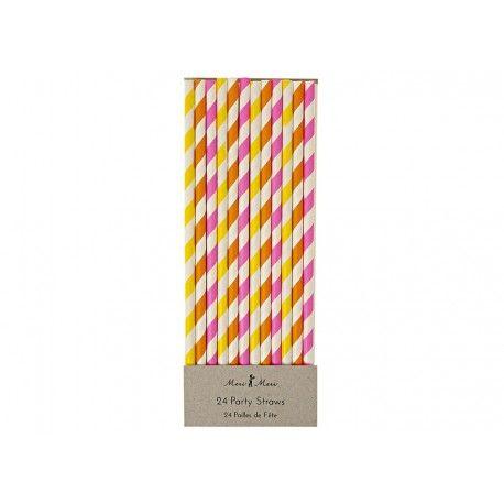 Vrolijk je feestje op met deze neon gekleurde gestreepte papieren rietjes ! Een set bevat 24 rietjes in 3 verschillende uitvoeringen (neon geel,...