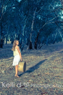 Girl amongst the trees with suitcase {Kelli D Photography}
