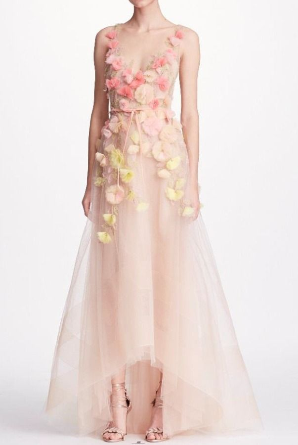1ae936eb Marchesa Notte Blush Sleeveless 3D Floral High Low A Line Gown | Poshare