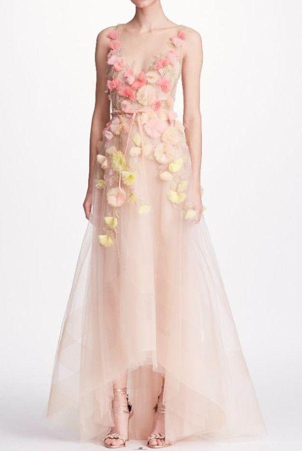 a557e9b4 Marchesa Notte Blush Sleeveless 3D Floral High Low A Line Gown | Poshare