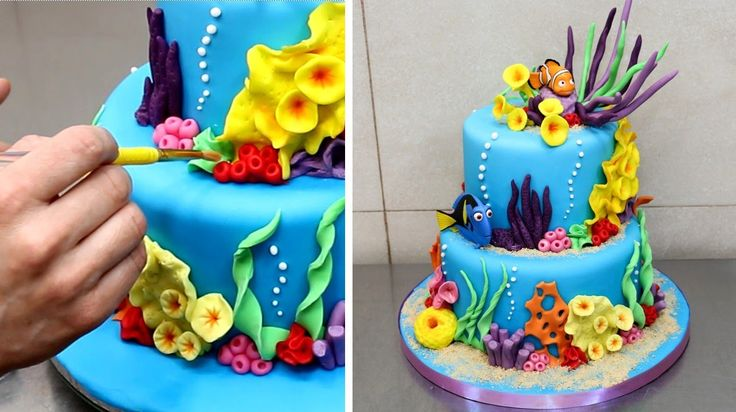 How To Make Finding Nemo.Dory Cake