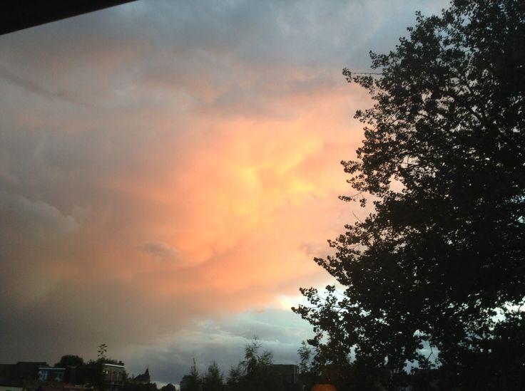 Roze lucht om prachtig om te zien