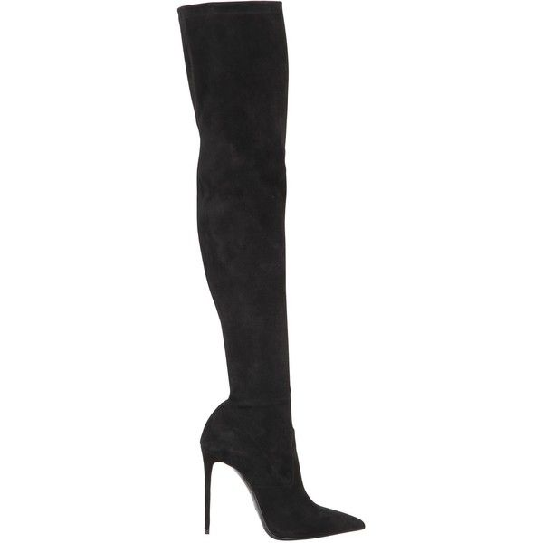 Le Silla Women 110mm Stretch Suede Over The Knee Boots (17.020 ARS) ❤ liked on Polyvore featuring shoes, boots, black, black suede boots, thigh high boots, black boots, high heel boots and suede boots