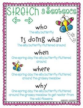 This is a cute little mini-poster to have in your Literacy Center or posted during Writer's Workshop to help show your students how they can add details and sparkle words to stretch their sentences. I have also included a supporting worksheet to use when introducing your students to stretching a sentence.