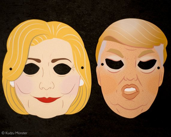 Printable Election masks creepy donald trump and  Hillary Clinton by KudzuMonster