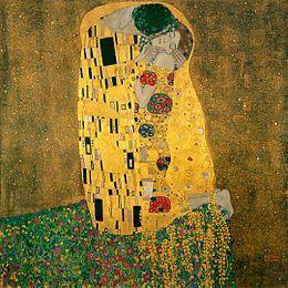 Gustav Klimt; Il bacio; 1907-08; olio su tela; Ostrerreichische Galerie Belvedere, Vienna.