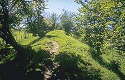 Offa's Dyke path follows an ancient earthwork along the border of Wales and England.