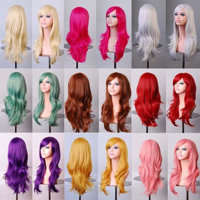 $7.65// do the poof in the hair set up for each//Hot 70cm long curly black/redpink/brown 12colors Anime Cosplay wig,High quality womens party kanekalon fibre synthetic hair wigs