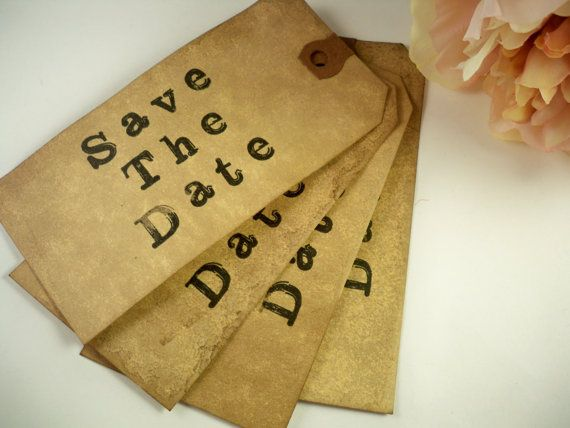 50 Vintage Wedding Save The Date Tag Shabby by HeartAndHandmade2, $39.50