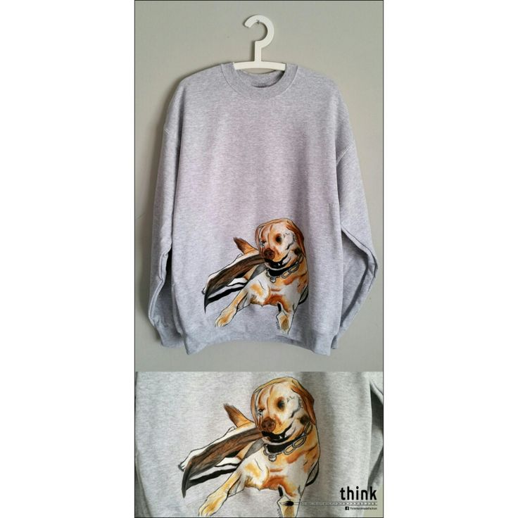 Handpainted labrador illustration on grey jumper.
