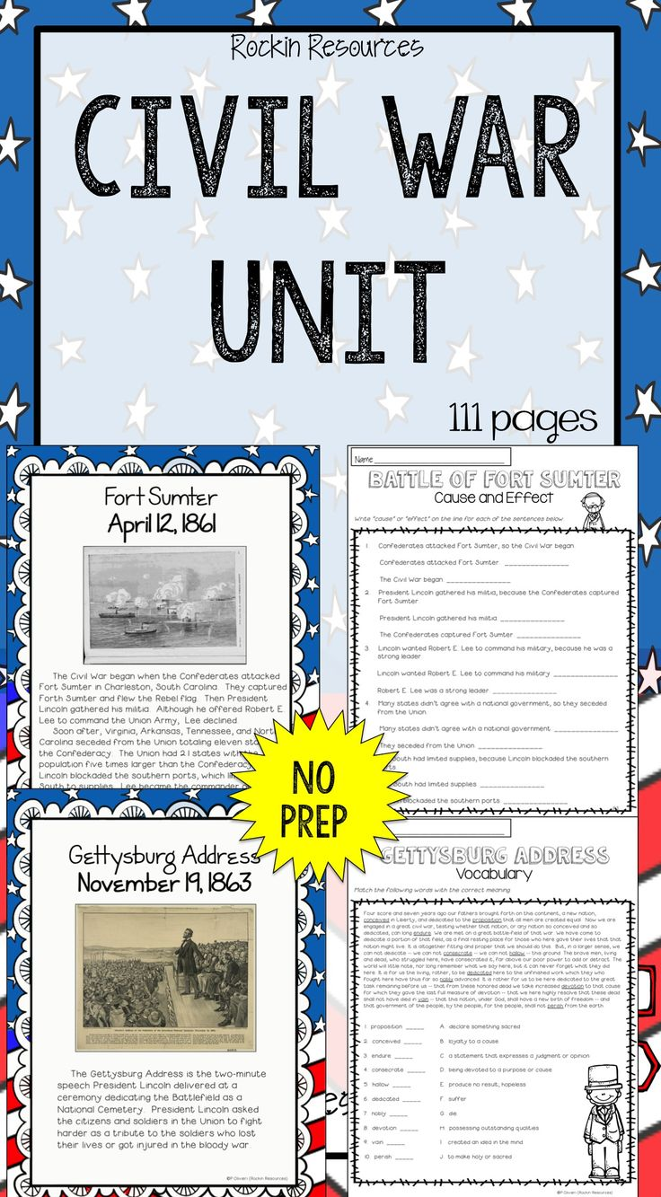 NO PREP CIVIL WAR UNIT.  Students love it!  Lesson plans, activities, project, informational text, student printables with reading skills, study guide, test, web links and more!